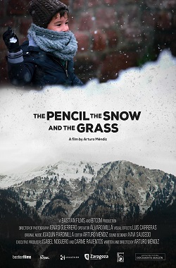 The pencil, the snow and the grass